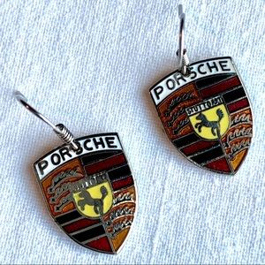 Porsche Emblem Crest Dangle Earrings + Gift Box